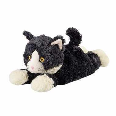Warmte knuffel liggende kat babyshower kado