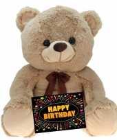 Baby kado knuffel beer beige gratis verjaardagskaart