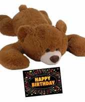 Baby kado knuffel beer bruin gratis verjaardagskaart