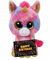 Baby kado knuffel eenhoorn gratis verjaardagskaart