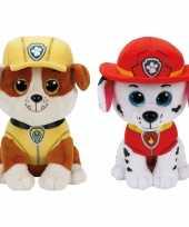 Baby paw patrol knuffels set karakters rubble marshall