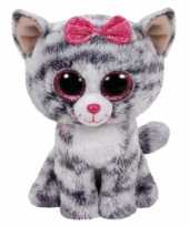 Baby pluche grijs kat knuffel ty beanie cm