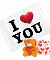 Baby valentijnskaart bruine knuffelbeer rood sjaaltje